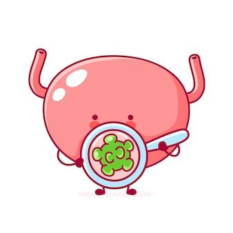 Carattere di organo della vescica umana divertente carino guarda il virus