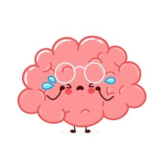 Grido di carattere carino divertente cervello umano organo