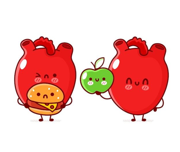 Simpatico organo cuore umano divertente con mela e hamburger