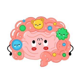 Simpatico organo intestinale divertente con batteri buoni, microflora. illustrazione disegnata a mano del carattere di kawaii del fumetto di vettore. isolato su sfondo bianco. intestino,microflora,concetto di carattere di probiotici