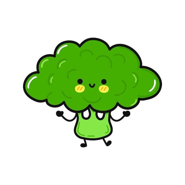 Simpatico personaggio divertente che salta con i broccoli
