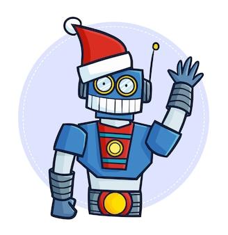 Simpatico e divertente robot blu kawaii che indossa il cappello di babbo natale per natale