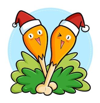 Simpatica e divertente mascotte di cosce di pollo kawaii che indossa il cappello di babbo natale per natale