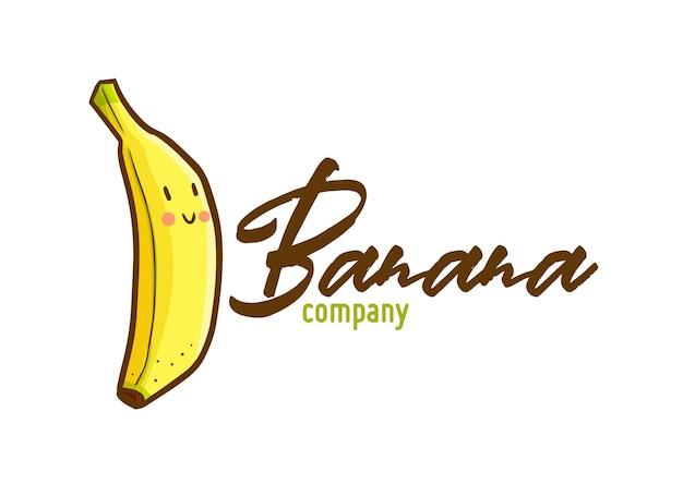 Modello di logo kawaii carino e divertente per negozio di banane o azienda