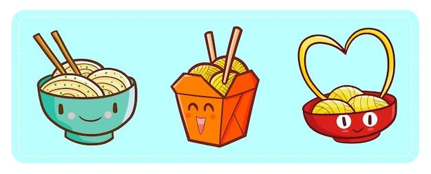 Simpatici e divertenti personaggi kawaii noodles felici