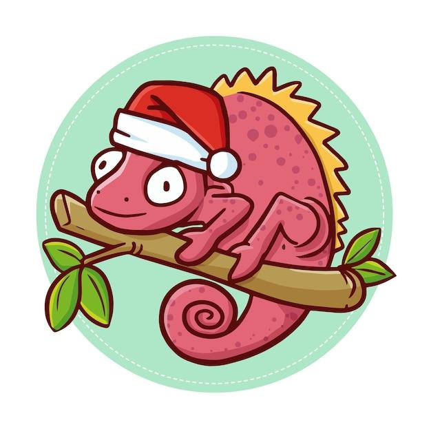 Simpatico e divertente camaleonte rosa kawaii su un ramo, con indosso il cappello di babbo natale per natale