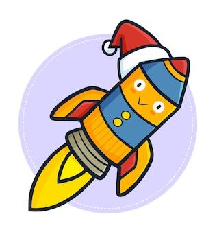Simpatico e divertente personaggio razzo kawaii che indossa il cappello di babbo natale per natale