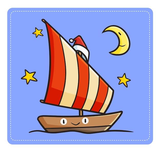 Carina e divertente barca a vela kawaii che naviga di notte e indossa il cappello di babbo natale per natale