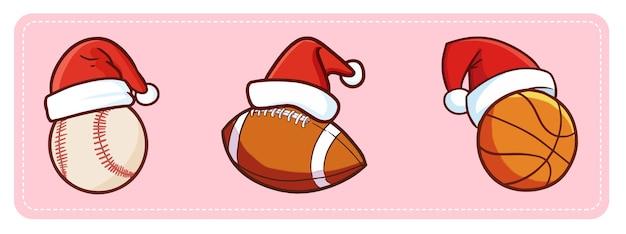 Simpatiche e divertenti palline sportive kawaii con cappello di babbo natale per promo natalizio