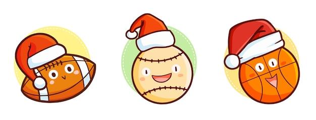 Simpatico e divertente personaggio kawaii con tre palloni sportivi che indossa il cappello di babbo natale per natale
