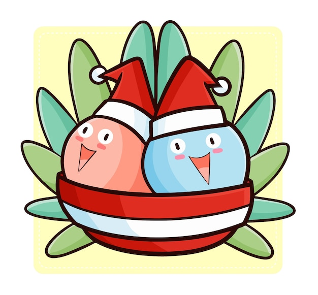 Simpatici e divertenti kawaii due gelati in una ciotola con il cappello di babbo natale per natale