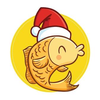 Simpatico e divertente pesce giallo kawaii che indossa il cappello di babbo natale per natale