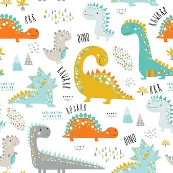 Modello di dinosauri carino bambini divertenti. Vettore Premium