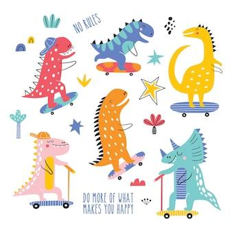 Set di vettori di dinosauri skater per bambini simpatici e divertenti collezione vettoriale di dinosauri colorati