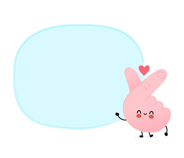 Simpatico simbolo di gesto di amore coreano divertente con casella di testo vuota. icona dell'illustrazione del personaggio dei cartoni animati della linea di doodle disegnato a mano di vettore. amore del dito, concetto coreano del fumetto del segno di gesto del cuore