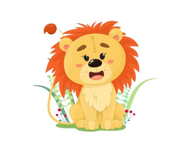 Cucciolo di leone sveglio e divertente nell'erba. illustrazione in stile cartone animato piatto.