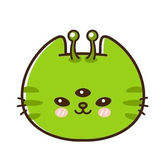 Fronte sveglio e divertente del gatto del bambino piccolo alieno. icona del logo dell'illustrazione del personaggio dei cartoni animati dei cartoni animati disegnati a mano di vettore. isolato su sfondo bianco. animale domestico, gattino ufo, concetto di icona gatto alieno