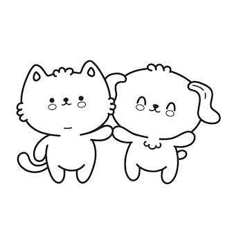 Simpatico cagnolino divertente, pagina di gatto per libro da colorare. icona di vettore doodle linea fumetto kawaii carattere illustrazione. isolato su sfondo bianco. cane, gatto, animale domestico, mascotte dello zoo libro da colorare concept