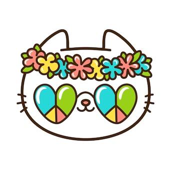 Simpatico e divertente viso di gatto hippie