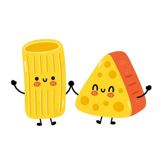 Simpatici spaghetti di pasta maccheroni divertenti e carattere di formaggio. icona dell'illustrazione del carattere di kawaii del fumetto disegnato a mano di vettore. isolato su sfondo bianco. pasta di maccheroni carina, concetto di mascotte dei cartoni animati di formaggio