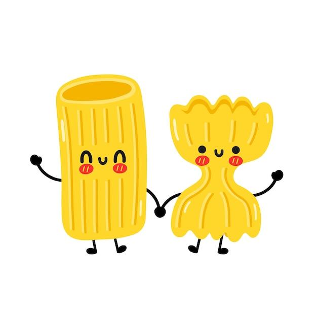 Carino divertente maccheroni pasta carattere coppia di noodles. icona dell'illustrazione del carattere di kawaii del fumetto disegnato a mano di vettore. isolato su sfondo bianco. carino maccheroni tagliatelle pasta fumetto mascotte concept