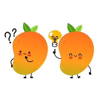 Simpatico e divertente frutto di mango con punto interrogativo e lampadina idea. icona dell'illustrazione del carattere di kawaii del fumetto disegnato a mano di vettore. isolato su sfondo bianco. concetto di personaggio di frutta esotica per bambini di mango