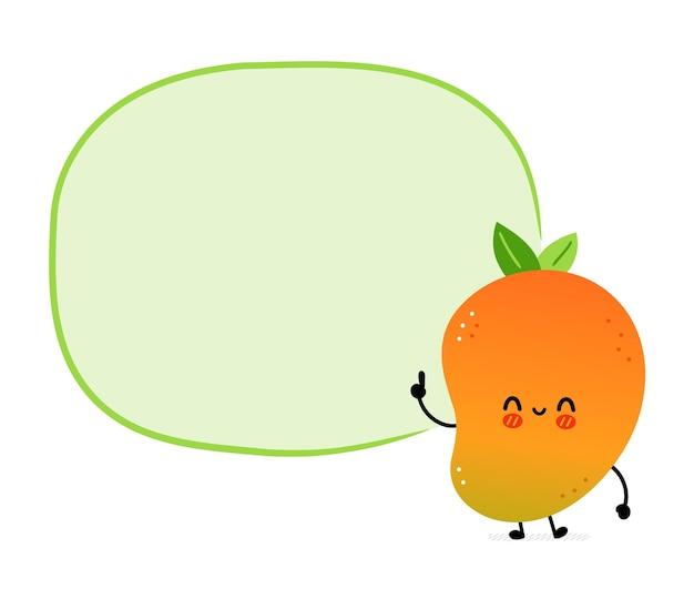 Simpatico e divertente frutto di mango con casella di testo. icona dell'illustrazione del carattere di kawaii del fumetto disegnato a mano di vettore. isolato su sfondo bianco. concetto di personaggio di frutta esotica per bambini di mango