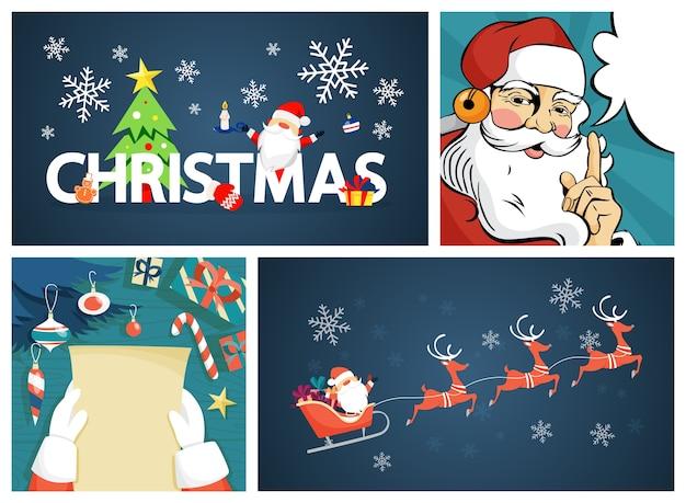 Insieme della decorazione della cartolina di natale allegro divertente sveglio. biglietto di auguri per la decorazione natalizia. bellissimo design. babbo natale, renne e lettera. illustrazione vettoriale in stile cartone animato