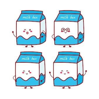Simpatico personaggio divertente di espressione della scatola del latte illustrazione disegnata a mano del personaggio della mascotte del fumetto di vettore