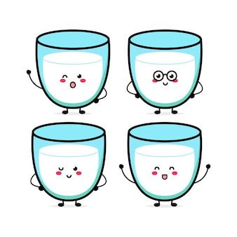 Simpatico personaggio di espressione del latte divertente illustrazione disegnata a mano del personaggio della mascotte del fumetto di vettore