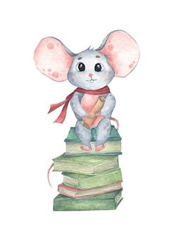 Mouse divertente sveglio che si siede su una pila di libri. illustrazione dell'acquerello.