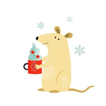 Simpatico topo divertente con tazza di cacao per il capodanno cinese. illustrazione di vacanza vettoriale