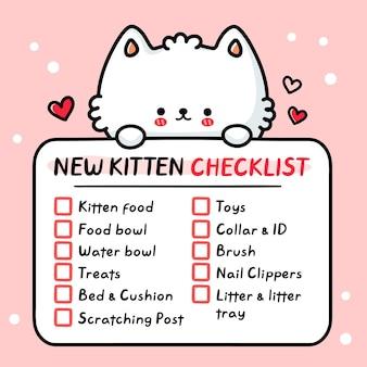 Lista di controllo del gattino sveglio e divertente del nuovo gatto