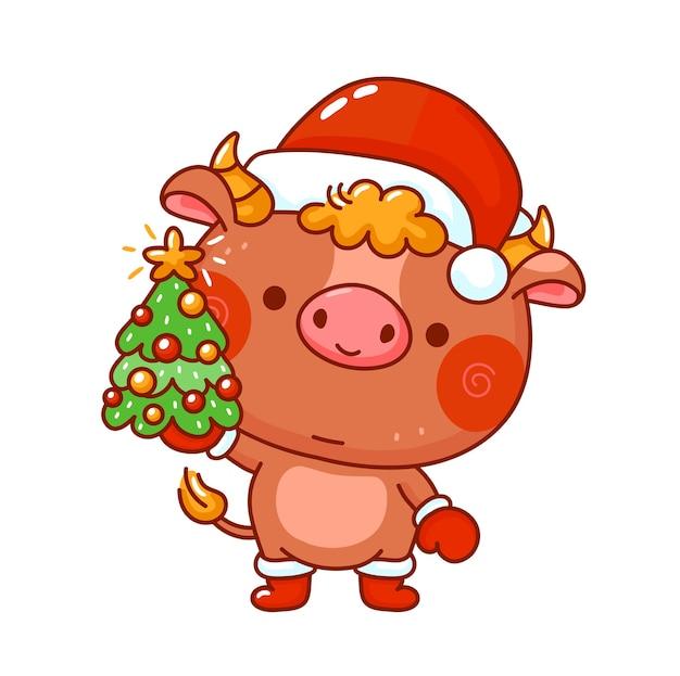 Toro divertente sveglio di simbolo del nuovo anno nel carattere del cappuccio di natale con l'albero.