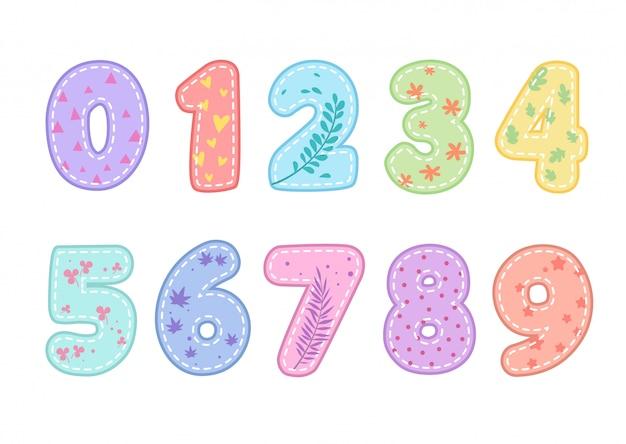 Set di numeri divertenti carino