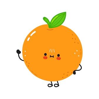 Simpatico personaggio divertente con la mano d'ondeggiamento di frutta arancione