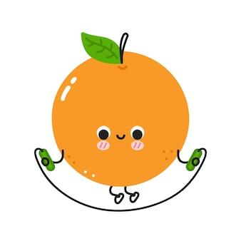 L'arancia carina e divertente fa la palestra con la corda per saltare. icona dell'illustrazione del personaggio di kawaii del fumetto di linea piatta di vettore. isolato su sfondo bianco. concetto di carattere di allenamento di frutta arancione