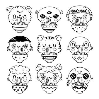 Le persone carine e divertenti mangiano le tagliatelle dalla collezione di set di ciotole. insieme dell'autoadesivo dell'illustrazione del carattere di kawaii del fumetto disegnato a mano di vettore. concetto dell'alimento del wok delle tagliatelle asiatiche. fumetto illustrazione per libro da colorare