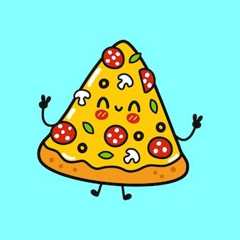 Simpatico personaggio di pizza divertente