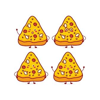 Simpatico personaggio divertente della valuta della pizza illustrazione disegnata a mano del personaggio della mascotte del fumetto di vettore i