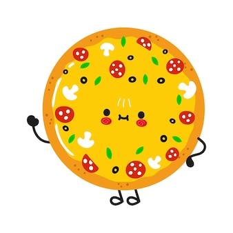 Simpatico personaggio divertente con la mano che saluta la pizza