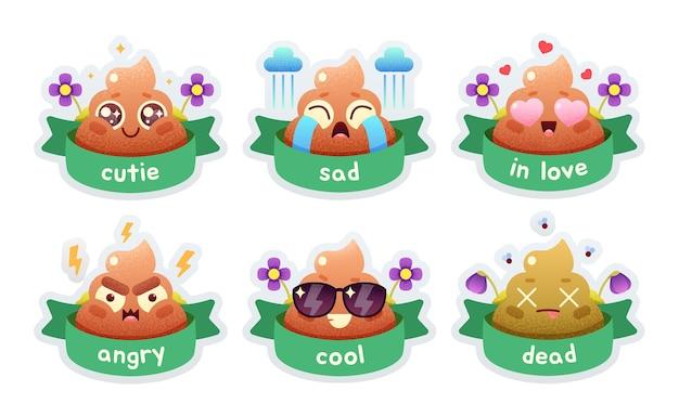 Simpatico set di cacca divertente icone di merda emotive emoticon di emoji felici simboli di volti sorridenti