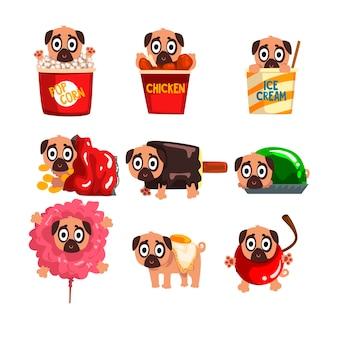 Carattere divertente sveglio del cane del carlino all'interno delle illustrazioni dei prodotti degli alimenti a rapida preparazione