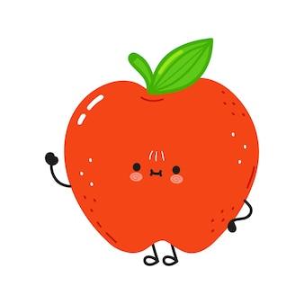 Simpatico personaggio divertente con la mano d'ondeggiamento della mela rossa