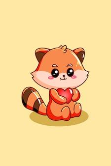 Panda rosso carino e divertente con illustrazione di cartone animato animale cuore