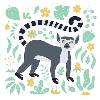 Simpatico lemure dalla coda ad anelli divertente e pianta tropicale. lemure catta esotiche del madagascar.