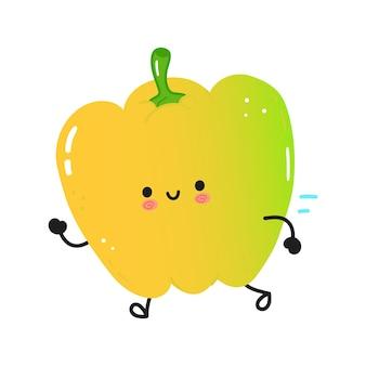 Simpatico e divertente peperone colorato in esecuzione
