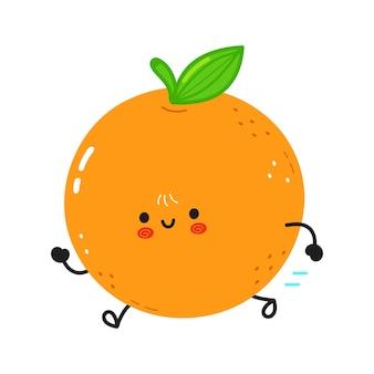 Simpatico e divertente frutto arancione in esecuzione