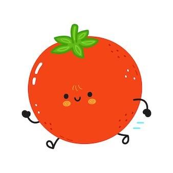Simpatico pomodoro in esecuzione divertente