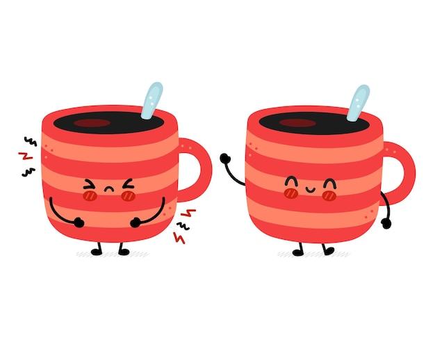 Tazza di caffè triste e felice divertente carina